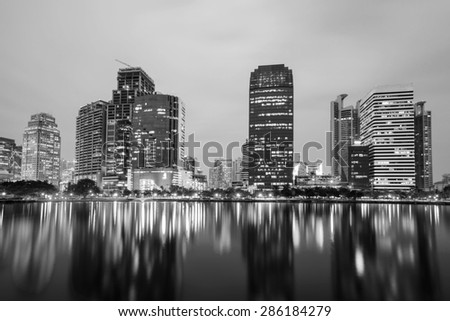 Cityscape at night Bangkok Thailand, Black and white. - stock photo