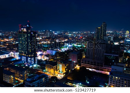 Cityscape at night by long shutter speed in Pattaya City / selective focus.
