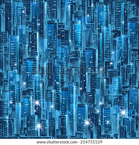 Cityscape at night.  Hand drawn illustration. Raster version - stock photo