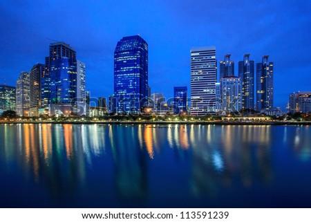 Cityscape at Night in Bangkok, Thailand - stock photo