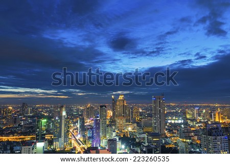 Cityscape at night, middle of bangkok,Thailand - stock photo