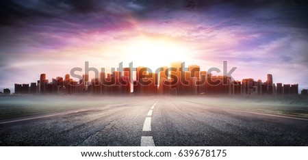 Cityscape At Sunset View Highway - Business Concept