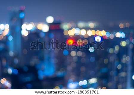 Cityscape background, Blurred Photo bokeh with cool color - stock photo