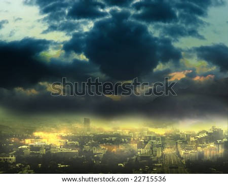 Cityscape background, night scene - stock photo