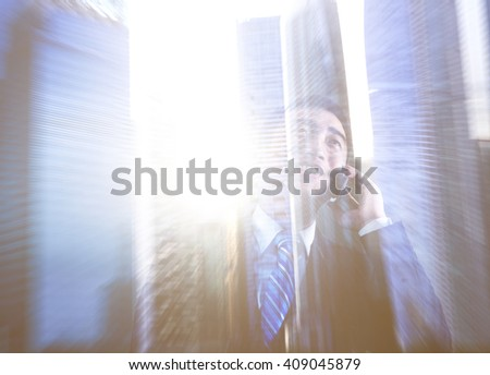 Cityscape Businessman Communication Office Worker Concept