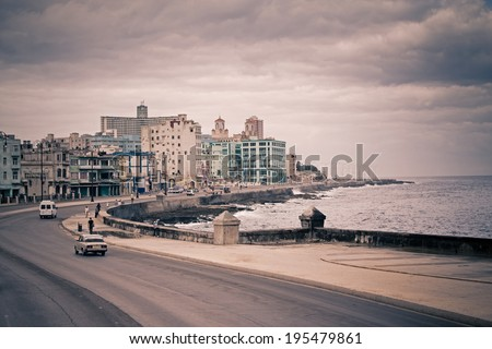 Cityscape from Havana Malecon - stock photo