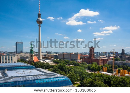 Cityscape from the sightseeing platform on the Berlin Cathedral in Berlin, Germany - stock photo