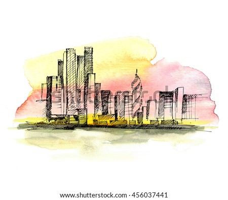 Cityscape. Hand drawn sketch on colorful watercolor background.