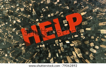 Cityscape, HELP symbol - stock photo