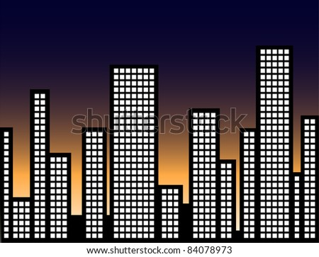 Cityscape Illuminated at Night Illustration - High Resolution JPEG Version. (vector version also available).