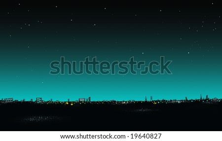 Cityscape illustration, at night. Skyline. - stock photo