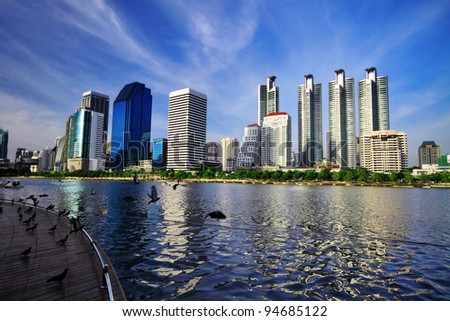 Cityscape in Bangkok, Thailand - stock photo