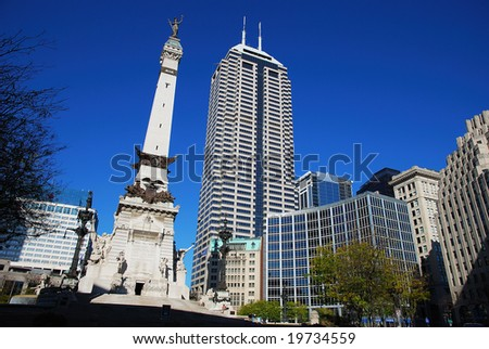 cityscape in downtown Indianapolis, Indiana - stock photo