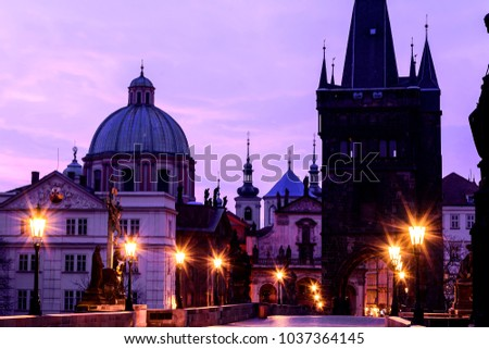 Cityscape in Prague. Charles bridge in the morning.