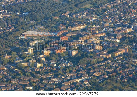 Cityscape in the Lower Rhine Region of Germany - Aerial view of Voerde, North Rhine-Westfalia, Germany, Europe - stock photo