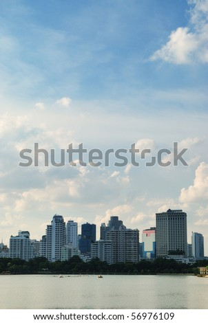 Cityscape in urban area of Bangkok during sunset - stock photo