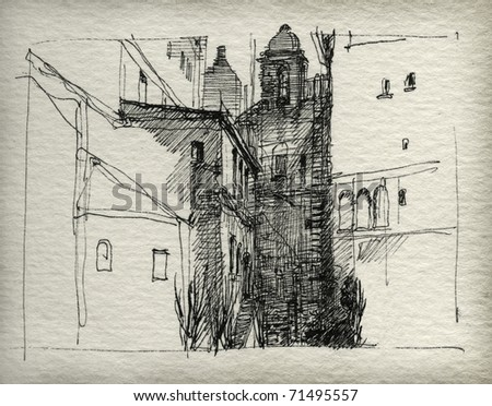 Cityscape. Ink on paper. - stock photo
