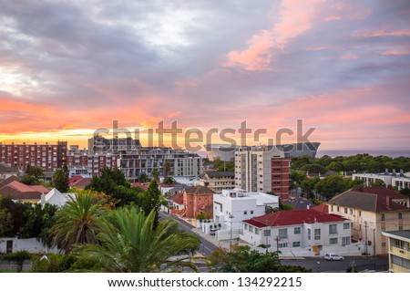 Cityscape look at Cape Town city in South Africa during sunset - stock photo