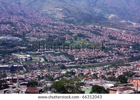 Cityscape Medellin. Shanties built on the slopes of the mountains. Homes townships. Colombia. - stock photo
