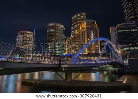 Cityscape Night time, Pedestrian Bridge, Melbourne city, Australia. - stock photo