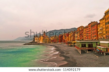 Cityscape of a fisherman village, Camogli, Liguria, Italy - stock photo