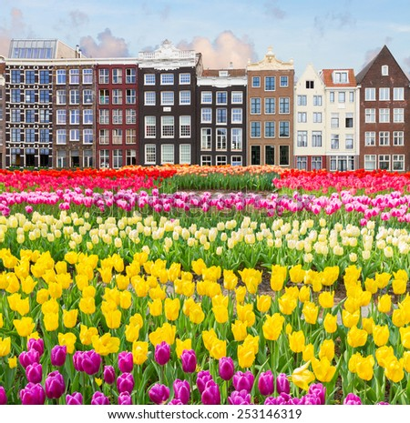 cityscape of  Amsterdam with historical houses, Netherlands - stock photo