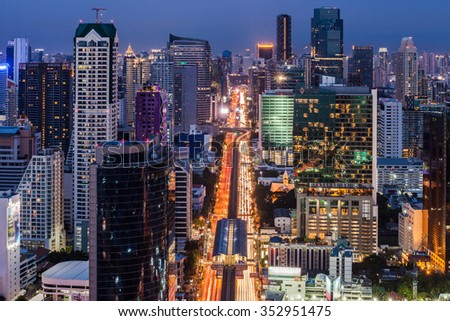 Cityscape of Bangkok city in night time with bird view