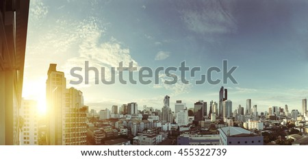 Cityscape of Bangkok city in sunrise, vintage tone