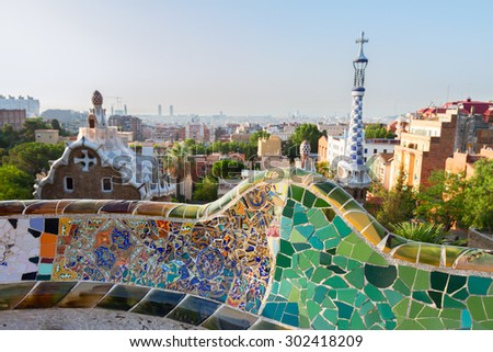 cityscape of Barcelona  from park Guell,  Spain - stock photo