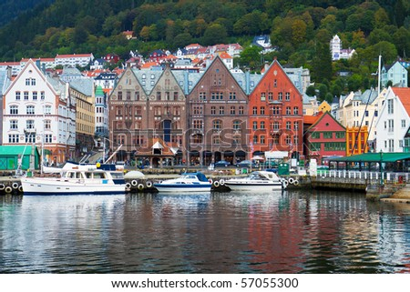 Cityscape of Bergen, Norway - stock photo