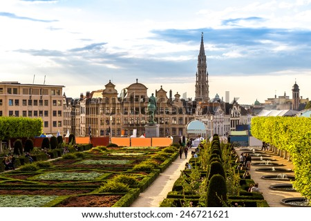Cityscape of Brussels in a beautiful summer day - stock photo