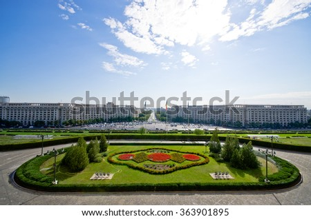 Cityscape of Bucharest from parliament building - Romania - stock photo