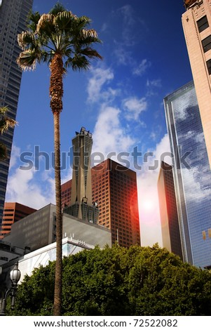Cityscape of business district in Los Angeles downtown - stock photo