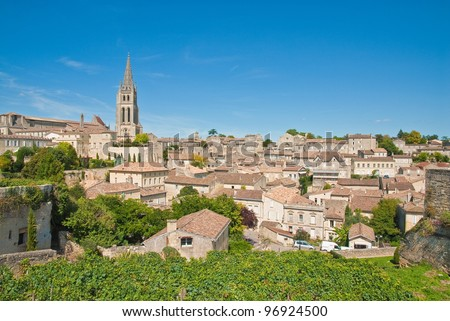 Cityscape of central Saint-Emilion, Gironde, Aquitaine, France  (A UNESCO World Heritage Site) - stock photo