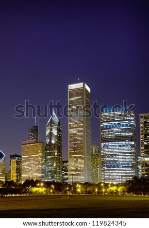 Cityscape of Chicago as seen from the Central Park at the night time