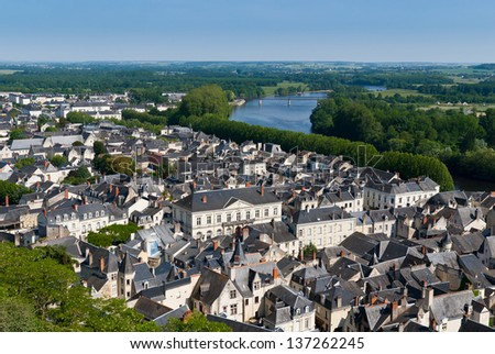 Cityscape of Chinon on Loire river, France