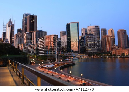 Cityscape of Circular Quay, Sydney, Australia, at dawn.