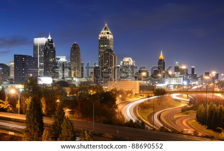 cityscape of downtown atlanta, georgia, usa - stock photo