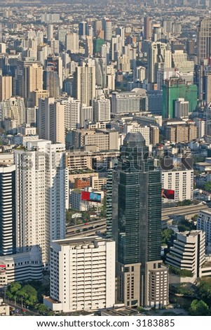 Cityscape of downtown Bangkok, showing office blocks and condominiums