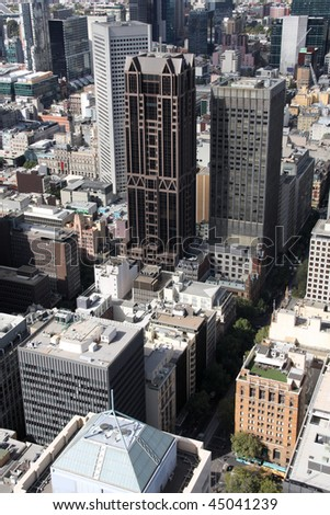 Cityscape of downtown Melbourne, Australia. Multitude of skyscrapers. Aerial view.
