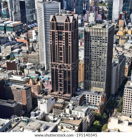 Cityscape of downtown Melbourne, Australia. Multitude of skyscrapers. Aerial view. Square composition.