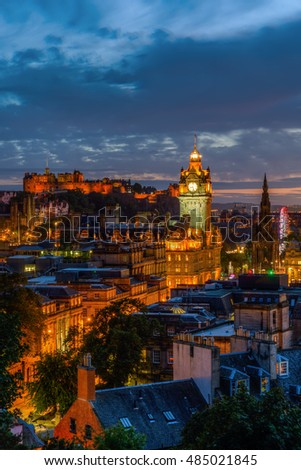cityscape of Edinburgh, Scotland, at night, viewed from Calton Hill