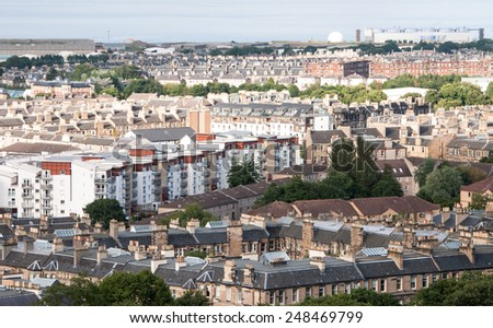 Cityscape of Edinburgh, the capital town of Scoltand UK, from Calton Hill. - stock photo