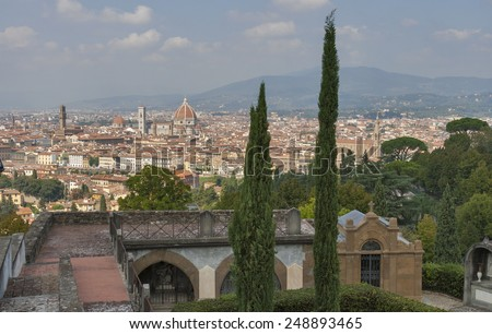 Cityscape of Florence from cemetery delle Porte Sante, Italy with the Duomo Cathedral and bell tower. - stock photo