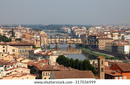Cityscape of Florence, Italy at sunset
