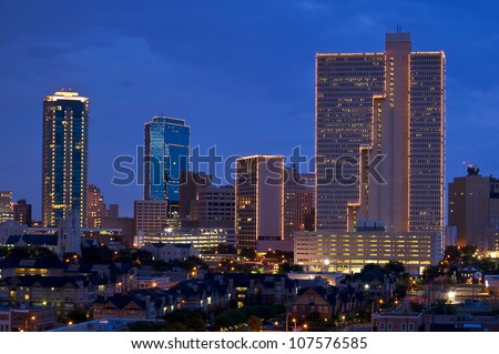 Cityscape of Fort Worth Texas at Night - stock photo