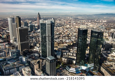 Cityscape of Frankfurt, Germany in bright sunny day - architecture background - stock photo