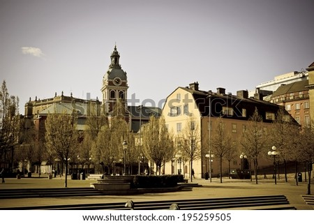 Cityscape of Gamla Stan in Stockholm, Sweden. Image with vintage filter - stock photo