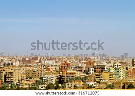Cityscape of Giza Residential Neighbourhood at Sunny Day