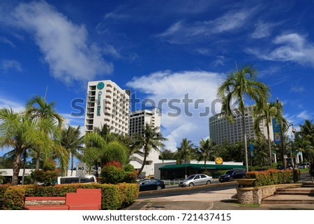 Cityscape of GUAM : GUAM,USA - September 23, 2017: Island on the southern tip of the Mariana Islands  in the Pacific Ocean. From the US West War it became the overseas territory of the United States.